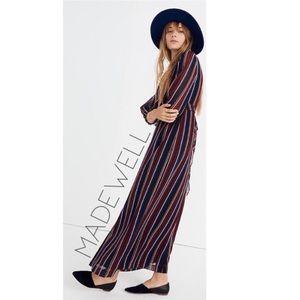 NWT Madewell wrap tie boho maxi striped dress 10 L